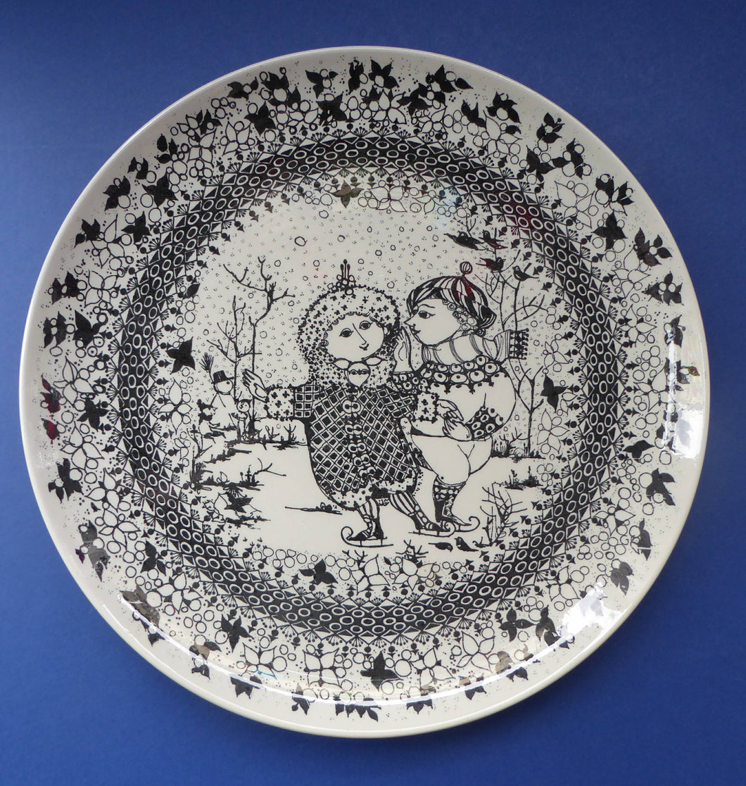 MASSIVE 14 inch Bjorn Wiinblad Wall Plate or Charger. From the Seasons Series: WINTER Nymolle Denmark, 1960s