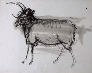 SCOTTISH ART: Sir Robin Philipson (1916 - 1992)  Study of a Ram.  Pen, ink & wash on paper. Signed