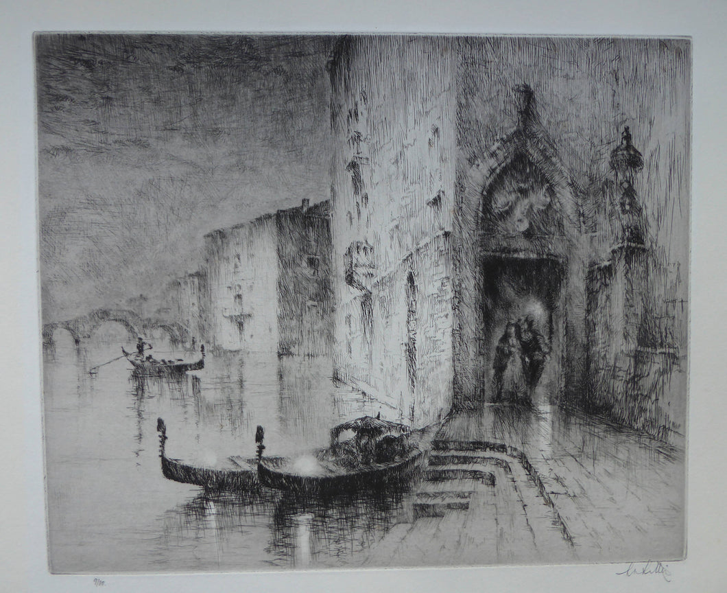 1920s Original Etching by Sydney Mackenzie Litten (1887 - 1949). The Betrothal, Venice