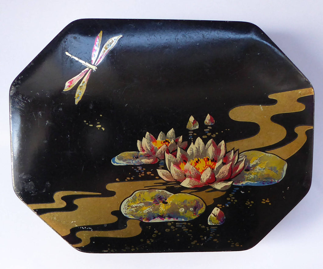 1920s Early Art Nouveau Toffee Tin by HORNER. Lid Decorated with Waterlilies and Dragonfly Motif