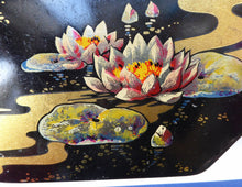 Load image into Gallery viewer, 1920s Early Art Nouveau Toffee Tin by HORNER. Lid Decorated with Waterlilies and Dragonfly Motif
