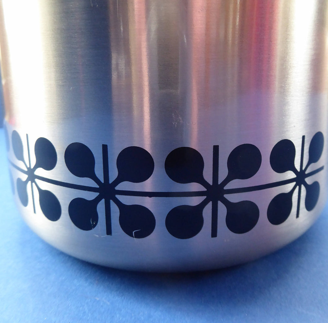 Vintage 1960s JAPANESE Silvered Metal Ice Bucket with Atomic Design. With original plastic drip tray and chrome tongs
