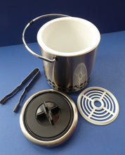 Load image into Gallery viewer, Vintage 1960s JAPANESE Silvered Metal Ice Bucket with Atomic Design. With original plastic drip tray and chrome tongs