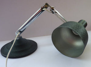 1950s Desk Lamp with Movable Chrome Arm Fittings and Black Textured Metal Shade. HEAVY Circular Stepped Base