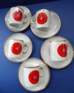 For SPARES: Vintage 1960s THOMAS ROSENTHAL Orange Flower Power Cup & Saucer. Five Available