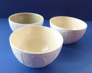 Three GUSTAVSBERG, SWEDEN China Vintage Bowls; inside glazed with textured matt white exterior