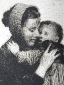 Original Pencil Signed Etching: William Lee Hankey. Mother and Child; 1920s