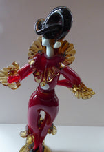 Load image into Gallery viewer, MASSIVE Signed Vintage Italian Murano Glass Pierrot / Comdia Dell' Arte Figurine by Franco Toffolo. 18 inches in height
