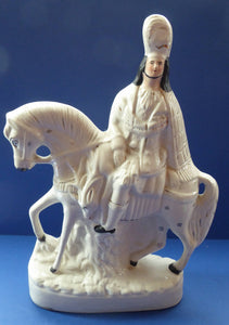 HUGE Antique Victorian STAFFORDSHIRE Figurine. Kilted Scotsman on Horseback. 15 inches height. Great Display Piece