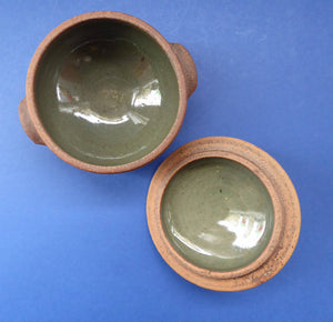Lidded ST IVES CORNWALL Studio Pottery Bowl with Grey-Green Interior Glaze. St Ives Impressed Seal