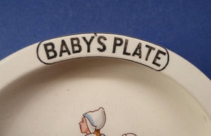 1940s / 1950s BABY'S PLATE or BOWL. Charming Dish with Cute Images of Dutch Children