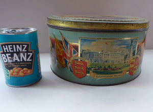 HUGE Vintage 1930s Co-op Commemorative CORONATION  Biscuit Tin for George VI and Queen Elizabeth