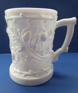 Antique DAVIDSONS Victorian Milk Glass Mugs or Pitchers with Thistle, Shamrock and Rose Design; c 1880s