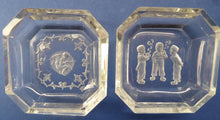 Load image into Gallery viewer, HEINRICH HOFFMAN. Pair of 1930s Intaglio Clear Czech Glass Pin Salt Dishes. Cupid & Little Dutch Boys Smoking