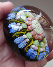 Load image into Gallery viewer, Vintage Scottish PERTHSHIRE Paperweight. Dark Blue Ground, 10 Spokes & Millefiori Canes