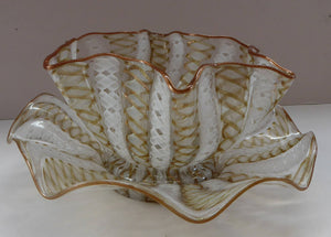 Vintage Venetian / Salviati Murano Glass Latticino Zanfirico Glass Finger Bowl & Saucer; Gold Inclusions and Frilled Edges
