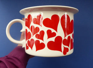 GUSTAVSBERG, Sweden. Rare 1960s Massive Oversized Cup with Red Love Hearts Decoration