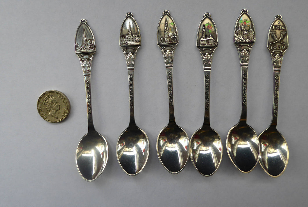 DANISH SILVER PLATE. Set of Six Vintage Souvenir Spoons. Copenhagen Finial designs by Axel Prip with Lighthouse Mark