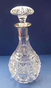 1930s MAPPIN & WEBB and John Walsh Crystal Hallmarked Silver Neck Decanter. KENILWORTH Cut Pattern
