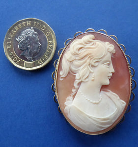 Vintage 9ct Gold Hallmarked CAMEO BROOCH. Signed A&Cs. Nicely Carved and in Good Condition.