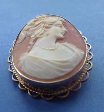Load image into Gallery viewer, Vintage 9ct Gold Hallmarked CAMEO BROOCH. Signed A&Cs. Nicely Carved and in Good Condition.