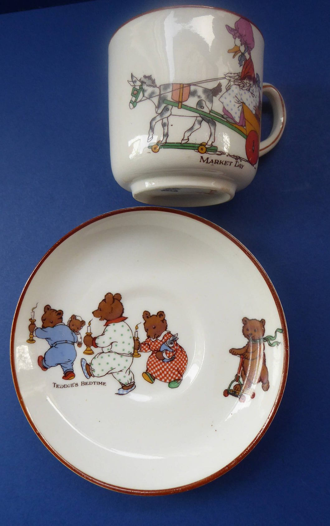 RARE 1920s NURSERY Ware: Paragon China Cup and Saucer. Teddie's Bedtime and Market Day