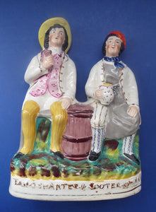 SCOTTISH Theme. Large Figure Group of Tam O'Shanter and Souter Johnnie Figurine (from Robert Burns Poem) by SAMPSON SMITH; c1890s