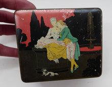 Load image into Gallery viewer, Pretty 1930s ART DECO Sweetie / Confectionary Tin with Cupids and Lovers in a French Louis XV Garden