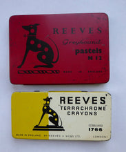 Load image into Gallery viewer, PAIR of Art Deco Style 1950s REEVES GREYOUND Pastel Tins & Some Contents