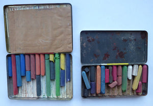 PAIR of Art Deco Style 1950s REEVES GREYOUND Pastel Tins & Some Contents