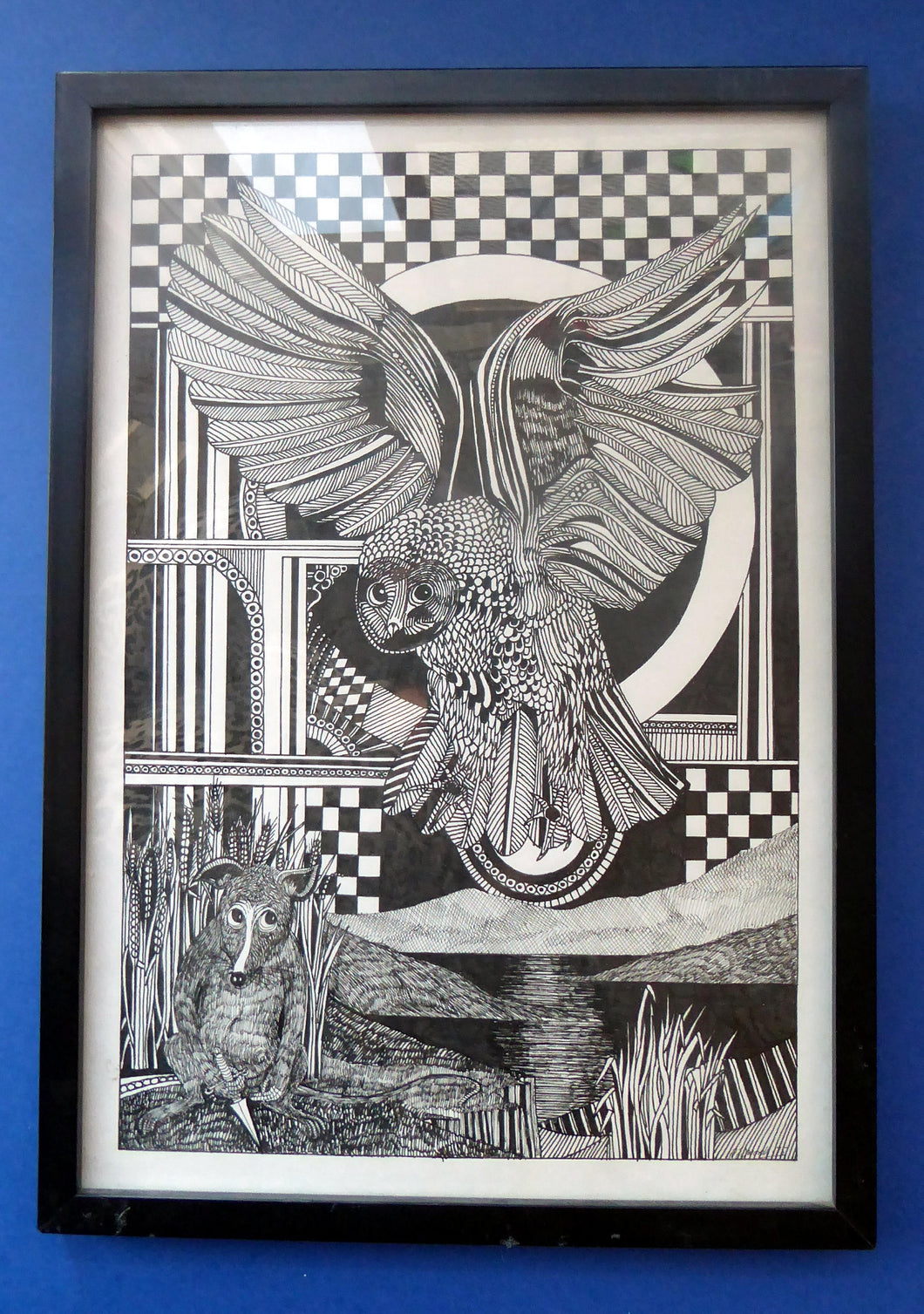 SCOTTISH ART: Vintage 1970s Drawing. SURREAL Dreamlike Image of an Owl and Field Mouse by Listed Artist Peter Dworok. Signed and dated 1975