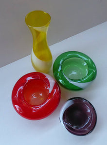 Set of FOUR 1950s JAPANESE Swirl Art Glass Bowls and Vase. KAMEI Glass with Mount Royal Retailers Sticker