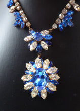 Load image into Gallery viewer, STUNNING 1950s Diamante and Faux Sapphire Necklace - Backed with Gilt Finish. Beautifully Crafted Vintage Piece