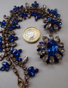 STUNNING 1950s Diamante and Faux Sapphire Necklace - Backed with Gilt Finish. Beautifully Crafted Vintage Piece