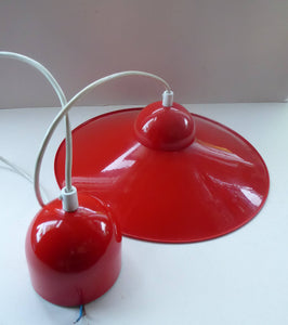 Rare 1960s CZECH Red and White Enamel Flying Saucer Hanging Ceiling Pendant LAMPSHADE. With Original Napako Label