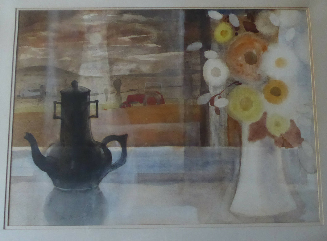 SCOTTISH ART. Unusual LARGE Still Life Watercolour by Ian Fleming (1906 - 1994). Pencil Signed & Framed