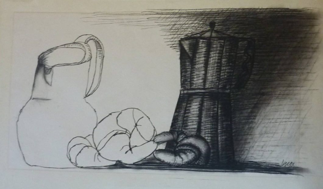 SCOTTISH ART. Charcoal Drawing by Jack Knox (1936 - 2015).  Large Still Life with Milk Jug, Coffee Pot & Croissants