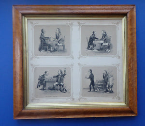 The CHESS Match / Chess Players. Rare ANTIQUE REGENCY Lithograph with Four Individual Images. In original Maple Frame; 1830s