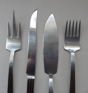 Vintage SWEDISH GENSE 1940s Stainless Steel THEBE Pattern Cutlery. Rare Four Piece Serving Set designed by Folke Arstrom