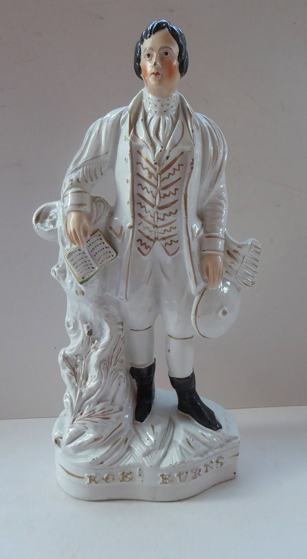 ROBERT BURNS. Large  Antique Victorian Staffordshire Flatback Figurine of the Celebrated Scottish Poet. 13 1/4 inches