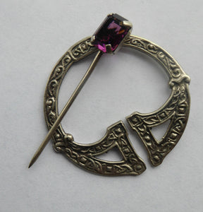 SCOTTISH SILVER. 1950s Penannular Brooch with Inset Amethyst. Traditional Design & Edinburgh Hallmark 1957