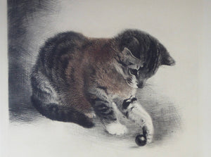 Original Etching by Kurt Meyer-Eberhardt (1895 - 1977). Kitten Chasing a Little Ball. Pencil inscription below