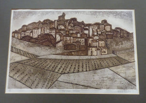 Listed Artist. Valerie Thornton (1931 - 1991). Hill Village, Navarre. Etching & Aquatint. Signed and dated 1977