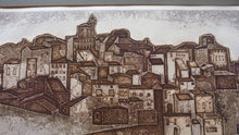 Load image into Gallery viewer, Listed Artist. Valerie Thornton (1931 - 1991). Hill Village, Navarre. Etching & Aquatint. Signed and dated 1977