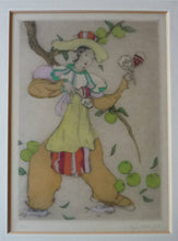 Load image into Gallery viewer, ORIGINAL DRYPOINT Etching / Woodblock Print by Elyse Ashe Lord (British, 1900–1971). Lady Playing Maracas. Pencil Signed