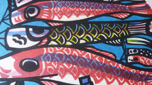 Load image into Gallery viewer, 1970s CLIFTON KARHU (1927 - 2007) Japanese Woodcut. Koinobori Carp (Flying Kites). Signed and Dated 1973