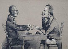 Load image into Gallery viewer, The CHESS Match / Chess Players. Rare ANTIQUE REGENCY Lithograph with Four Individual Images. In original Maple Frame; 1830s