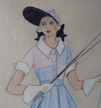 Load image into Gallery viewer, 1930s ART DECO Watercolour Theatrical COSTUME Study by Irene Segalla