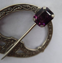 Load image into Gallery viewer, SCOTTISH SILVER. 1950s Penannular Brooch with Inset Amethyst. Traditional Design & Edinburgh Hallmark 1957