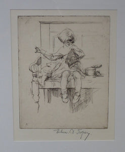 Cute Original Etching by EILEEN ALICE SOPER (1905 - 1990). The Sampler. Published 1922. Signed in Pencil